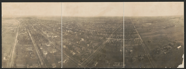 Birds eye view of La Grange, Illinois from Lawrence Captive Airship at 1000 ft. elevation