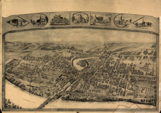 [Bird's-eye view of Thompsonville (now Enfield), Connecticut].