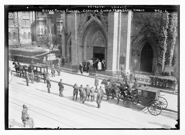 Bishop Potter funeral, carrying coffin from Grace Church