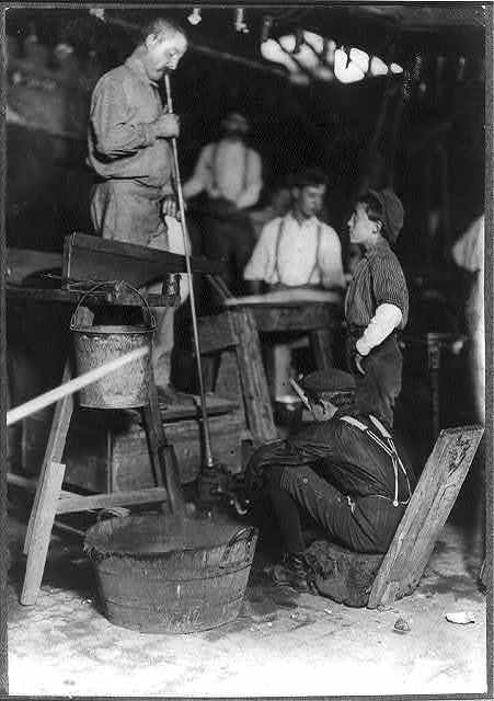 Blower and Mold Boy, Seneca Glass Works, Morgantown, W. Va. (see label on #171) (see photos 170 & 171).  Location: Morgantown, West Virginia.