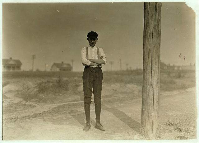 Bob Burton, Gastonia, N.C. 15 years old. A typical adolescent, overgrown, thin, anaemic [sic]. Been in mill for 8 years. Doffing still in Ozark Mills.  Gastonia, North Carolina.