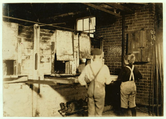 Boys at Lehr glass works.  Location: West Virginia.