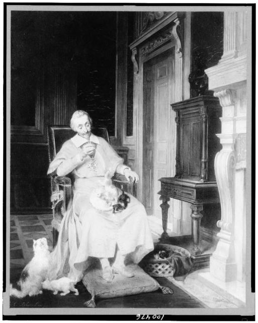 [Cardinal Richelieu, full-length portrait, seated, facing front, with three kittens on his lap] / photo, T.W. Ingersoll, St. Paul.