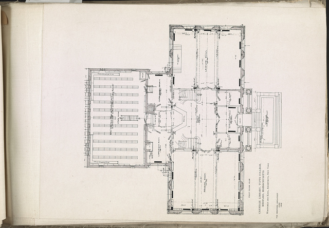 Carnegie Library, Tufts College, Medford, Massachusetts First floor plan / / Whitfield and King, architects, New York.