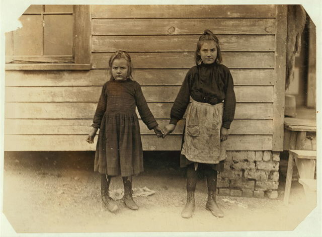 """Carrie Blanchard. """"Don't know how old I am. Mother can tell. She keeps track of these things. She begins to work in mill tomorrow. 'Speks I'll go to help."""" (Mother said she was 10 years old). Little sister not at work yet. Witness S.R. Hine.  Location: Chester, South Carolina."""