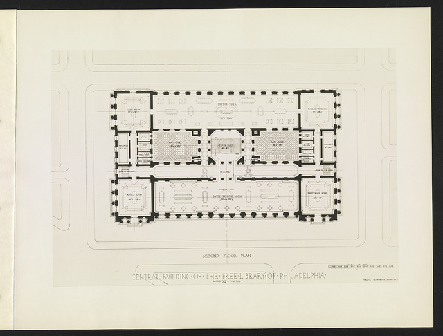 Central building of the Free Library of Philadelphia Second floor plan / / Horace Trumbauer, architect.