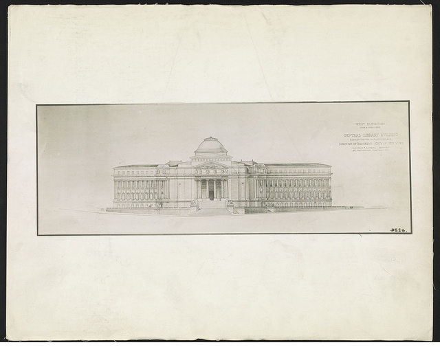 Central library building, Eastern Parkway & Flatbush Ave., Borough of Brooklyn, City of New York West elevation / / Raymond F. Almirall, architect, 185 Madison Ave., New York City.