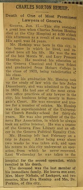 Charles Norton Hemiup, Geneva lawyer obituary