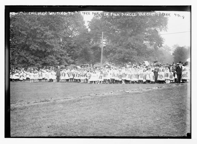 Children waiting to take part in folk dances, Van Cort't Park [New York]