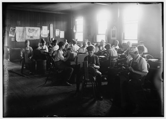 Cigar Factory, Indianapolis Ind. Boys in foreground. Witness E. N. Clopper. L. W. H., Aug, 1908.  Location: Indianapolis, Indiana.