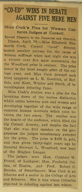 Co-Ed Wins in Debate against five mere men, April 26, 1908. Elizabeth Ellsworth Cook wins Woodford Prize of Oratory