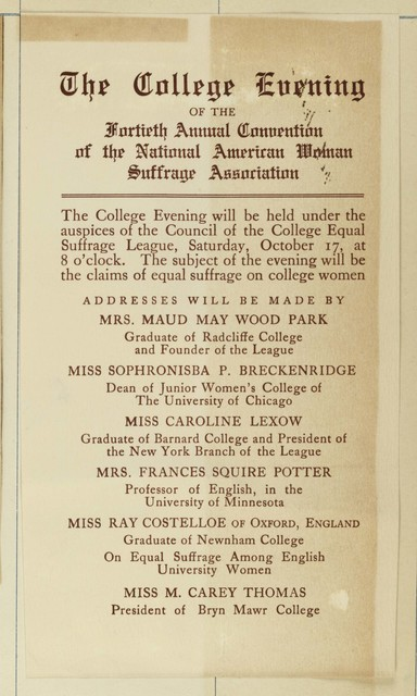 College Evening of 40th annual convention of National American Woman Suffrage Association, listing speakers