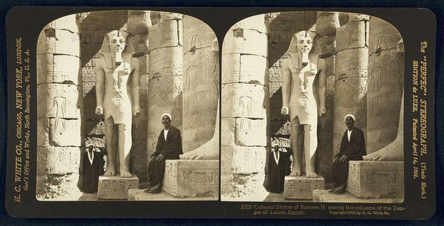 Colossal statue of Ramses II among the columns of the Temple of Luxor, Egypt