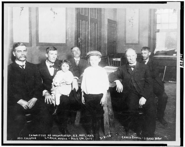 Committee of unemployed, N.Y. May 1908, Jas. Calhoun, L.T. Rush, Mobile, Alex Law, Sec'y, Chas A. Curtis, J. Eads How