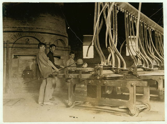 Crescent Glass Works, Clarksburg , W. Va. At the Rolling Machine.  Location: Clarksburg, West Virginia.