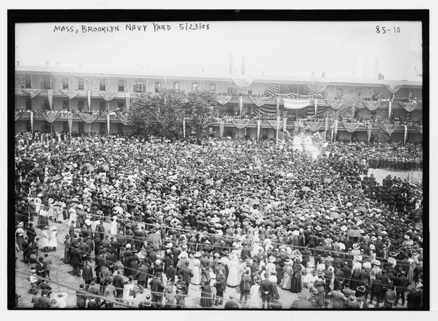 Crowd at Mass in Brooklyn Navy Yard, New York