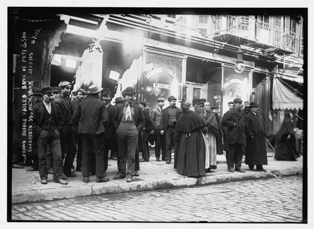Crowd before failed bank of Pati & Son, Elizabeth St., New York