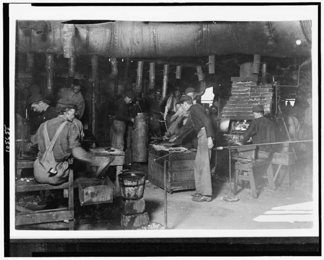 Day Scene in an Indiana Glass Works. Aug.,1908.  Location: Indiana.