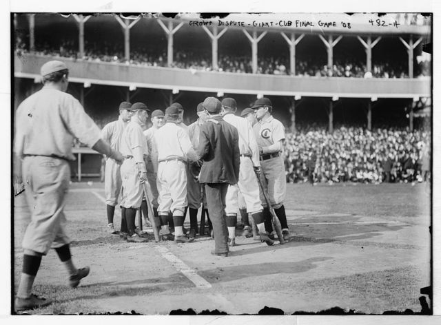 [Dispute on field;  Cubs at Giants, Polo Grounds- final game (baseball)]