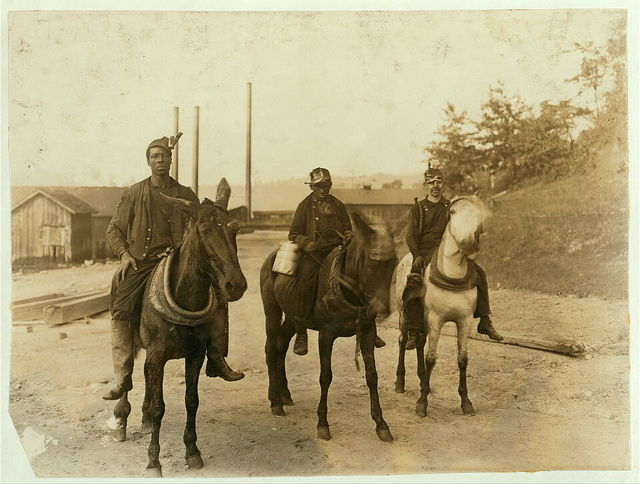 Drivers going home, 5:30 P.M. from mine Macdonald, W. Va. Witness - E. N. Clopper.  Location: MacDonald, West Virginia.