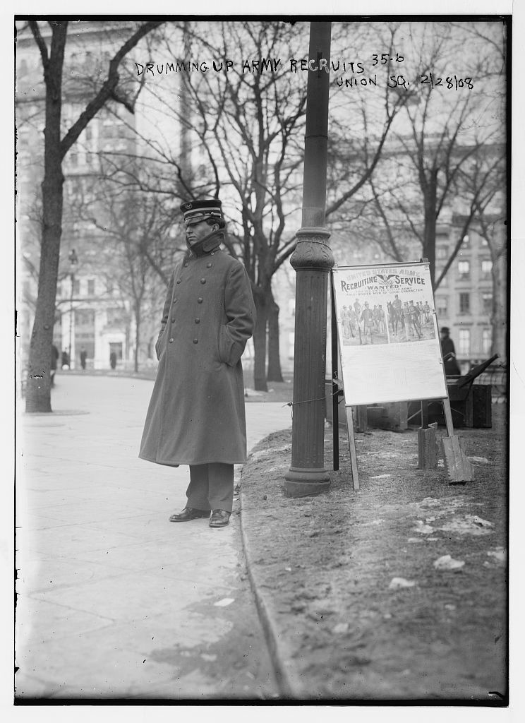 Drumming up Army recruits, Union Sq., [New York]