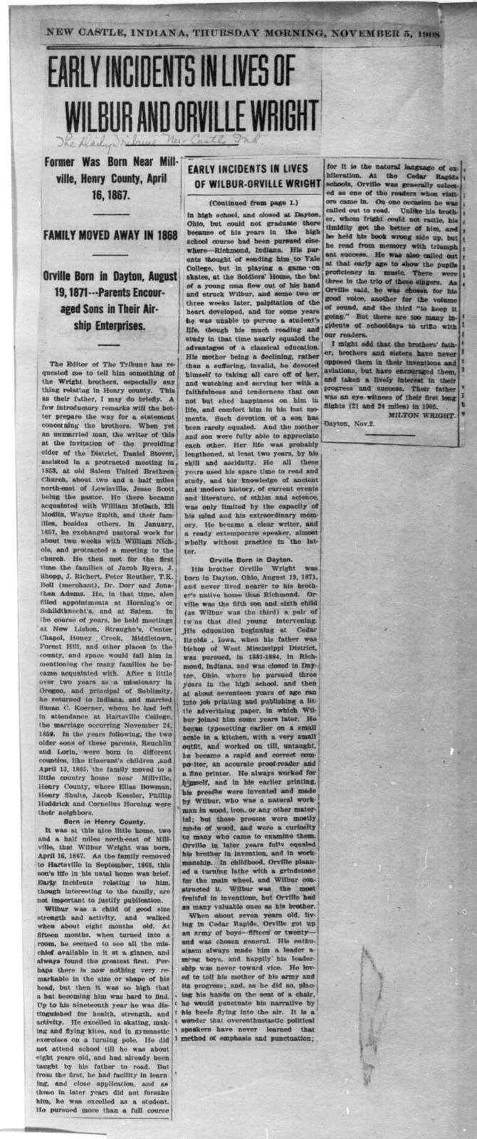 Early Incidents In Lives of Wilbur and Orville Wright [The Daily Tribune, 5 November 1908]