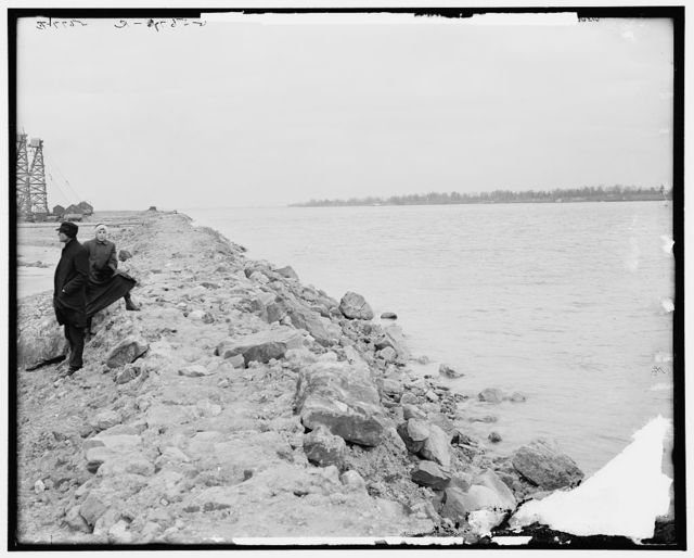 East wall and dry area of coffer dam, Livingstone Channel, Mich.