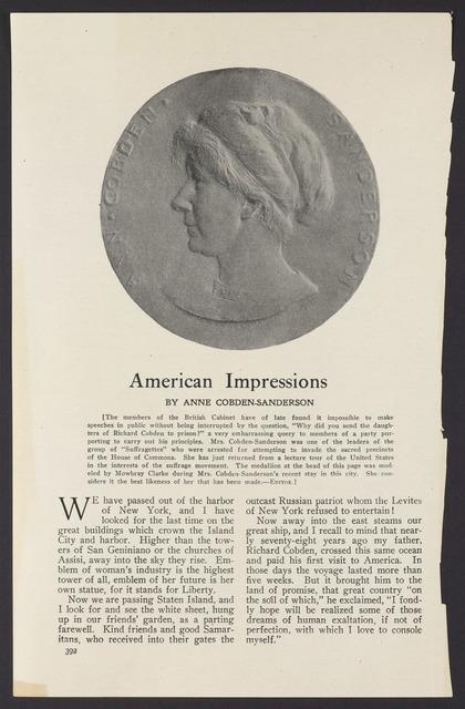 Enclosure: American Impressions by Anne Cobden-Sanderson