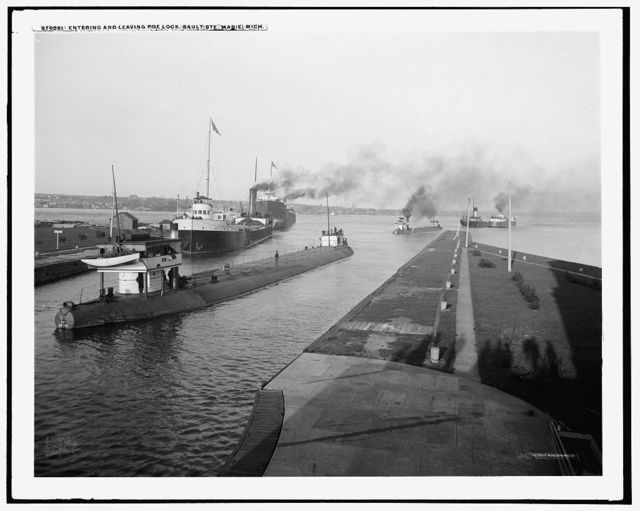 Entering and leaving Poe Lock, Sault Ste. Marie, Mich.