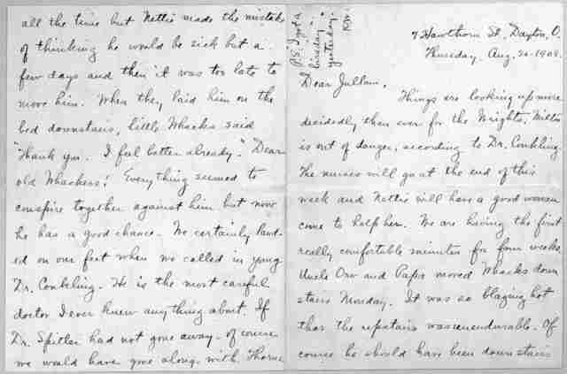 Family Papers:  Correspondence--Wright, Katharine, July-August 1908