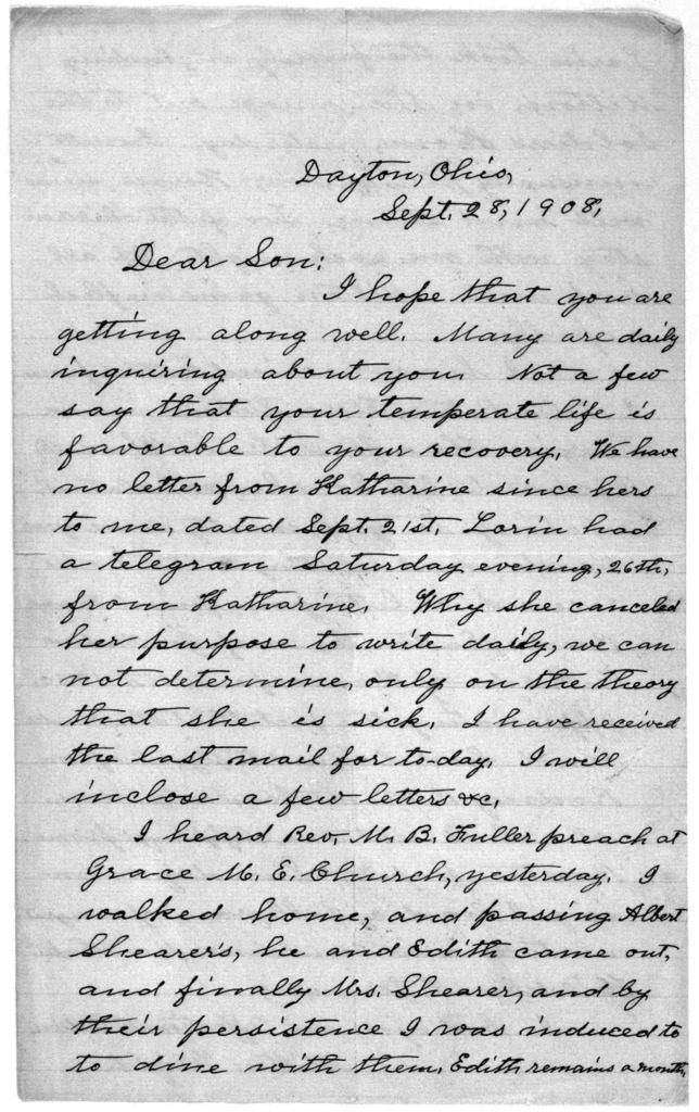 Family Papers:  Correspondence--Wright, Milton, September 1908