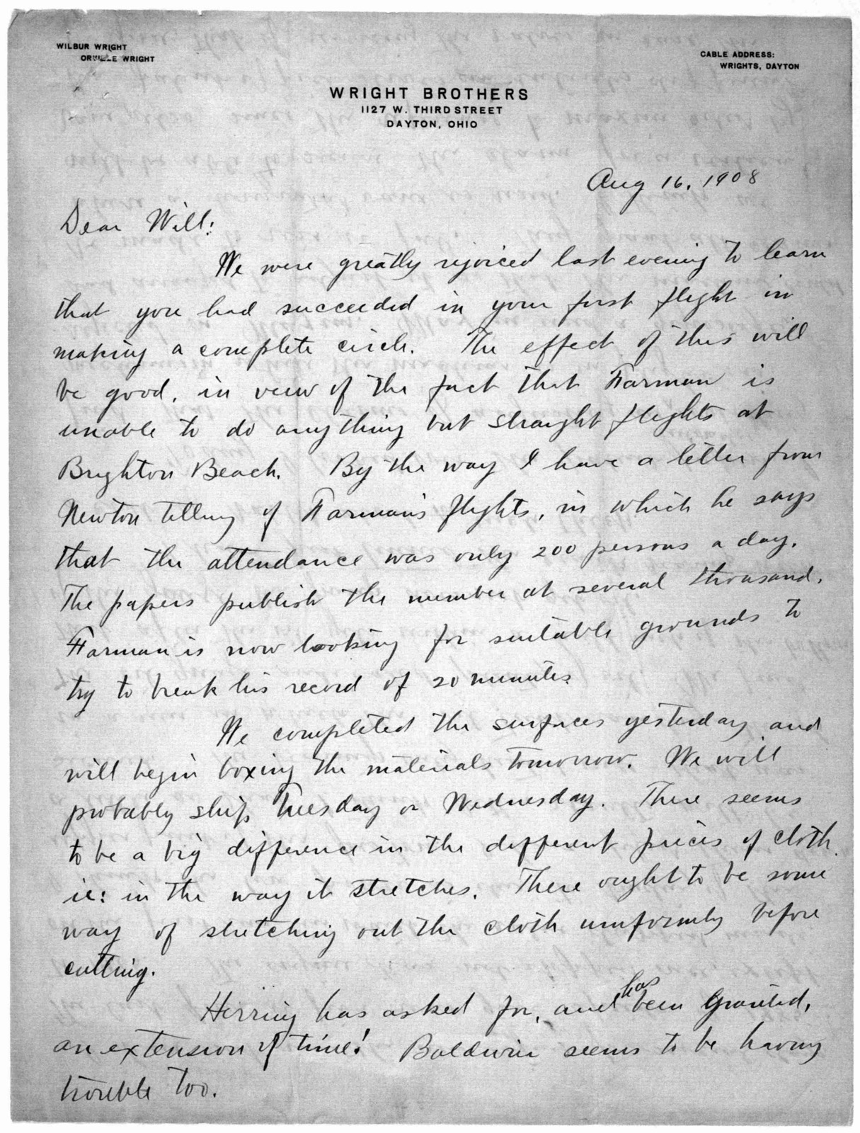 Family Papers:  Correspondence--Wright, Orville, July-August 1908