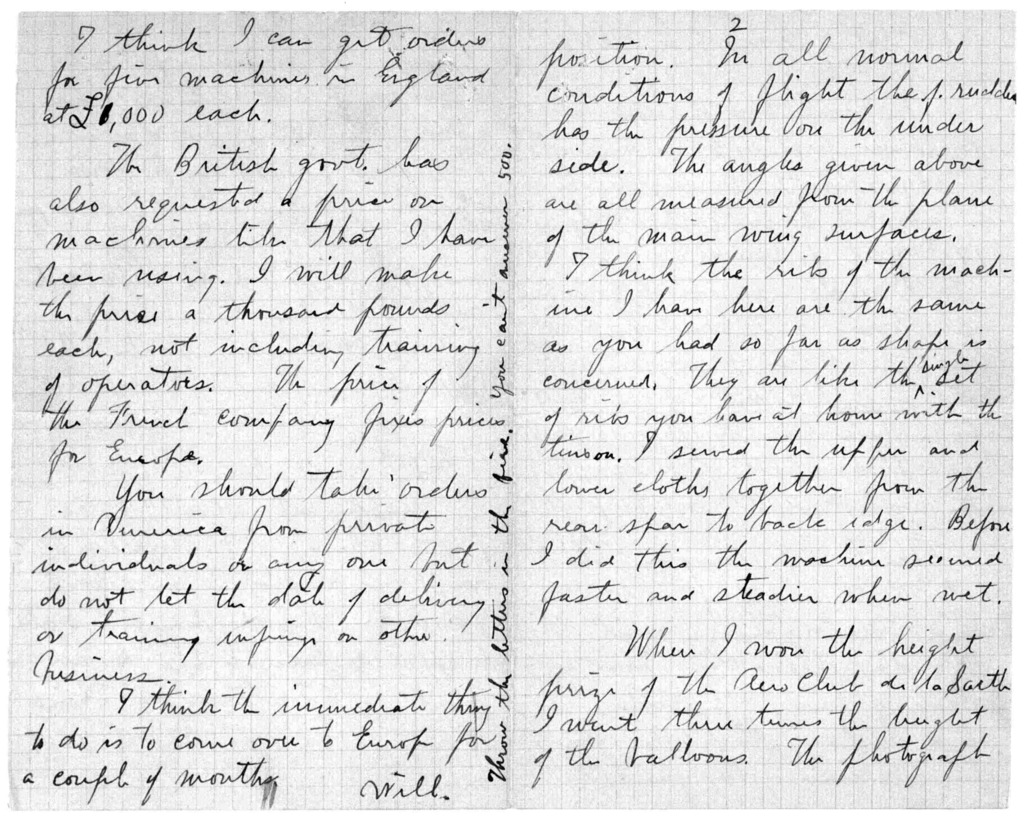 Family Papers:  Correspondence--Wright, Wilbur, October-December 1908