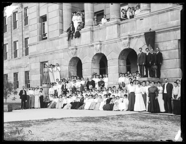Female students in front of the Administration Building, State Normal School, Kearney, Nebraska