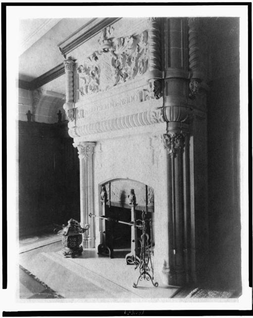 "[Fireplace, with words ""In Deo solo coneido"", in home of Edmund Cogswell Converse, Greenwich, Connecticut]"