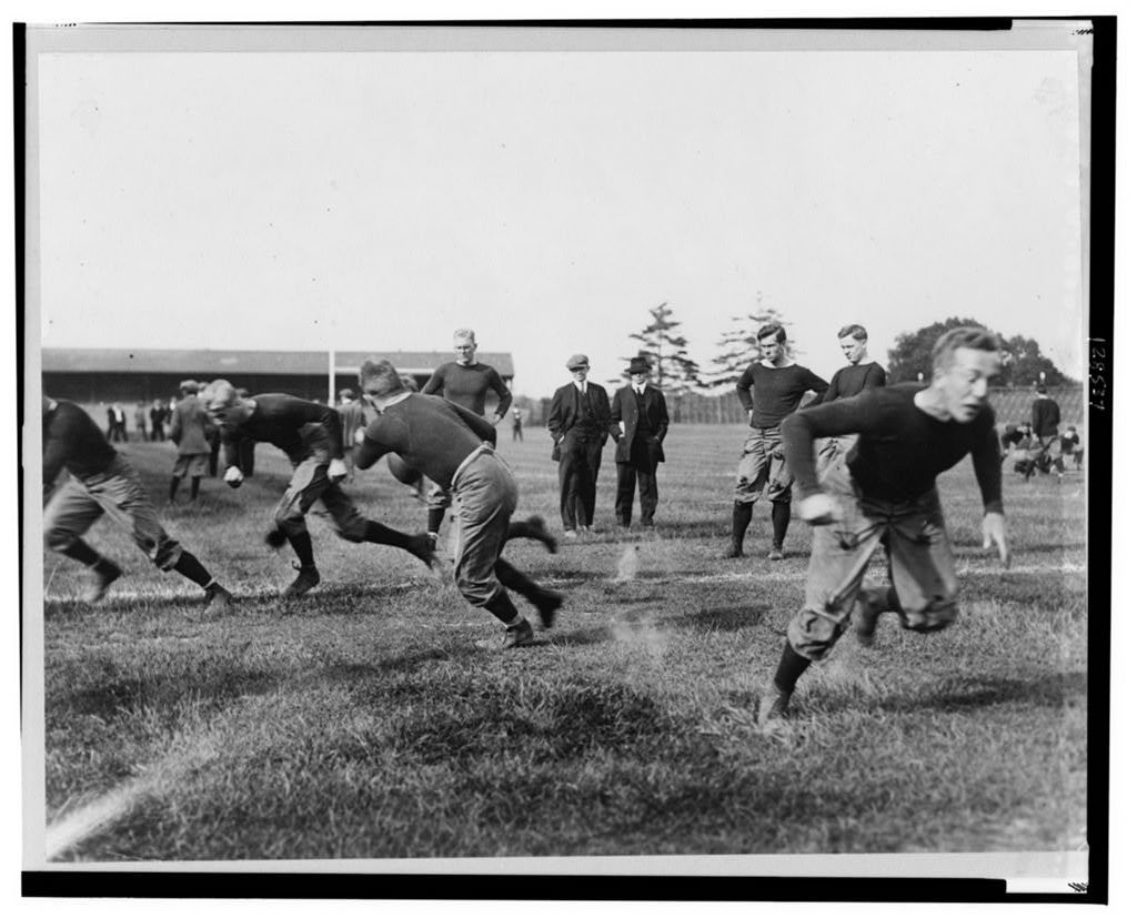 Football practice at Yale