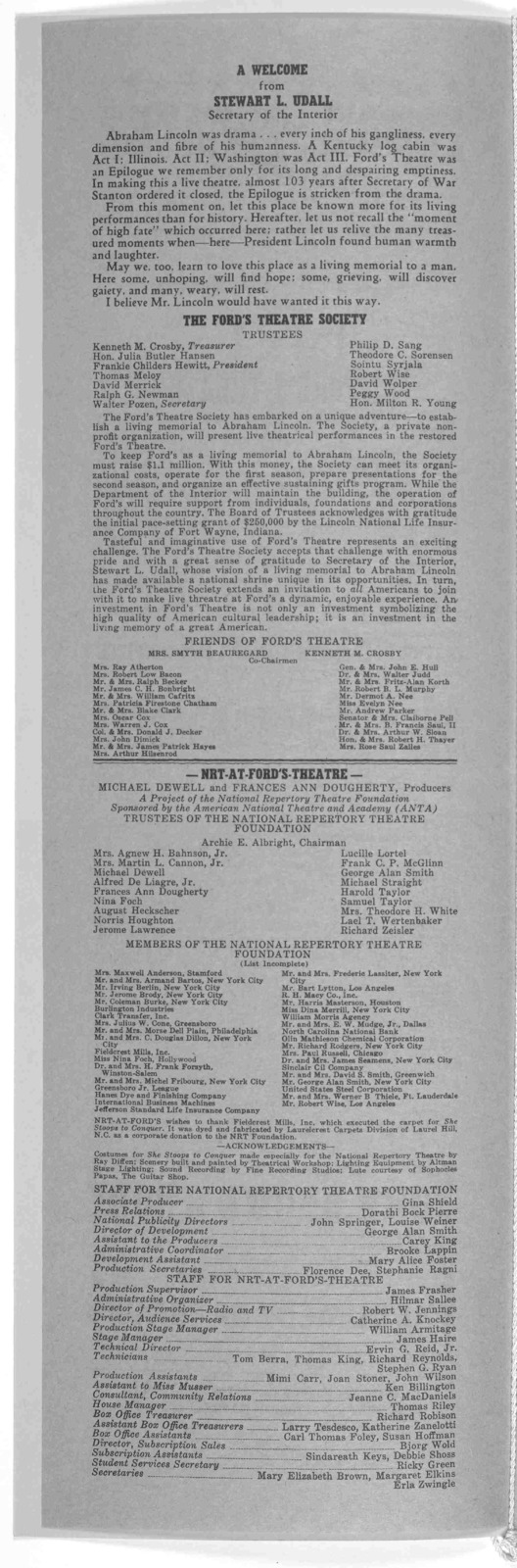 ... Ford's Theatre Society presents ... Oliver Goldmisth's lusty masterpiece ... She stoops to conquer, or, the Mistakes of a night. [Wash.] NRT-at-Ford's Theatre, 1968.