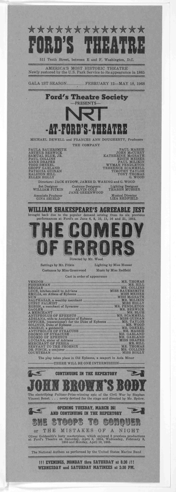 ... Ford's Theatre Society presents ... William Shakespeare's agreeable jest ... The Comedy of errors. [Wash.] NRT-at-Ford's Theatre, 1968.