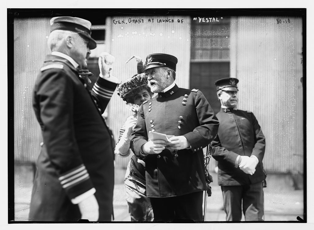 "Gen. Grant and others at launch of ""Vestal"", Brooklyn, N.Y."