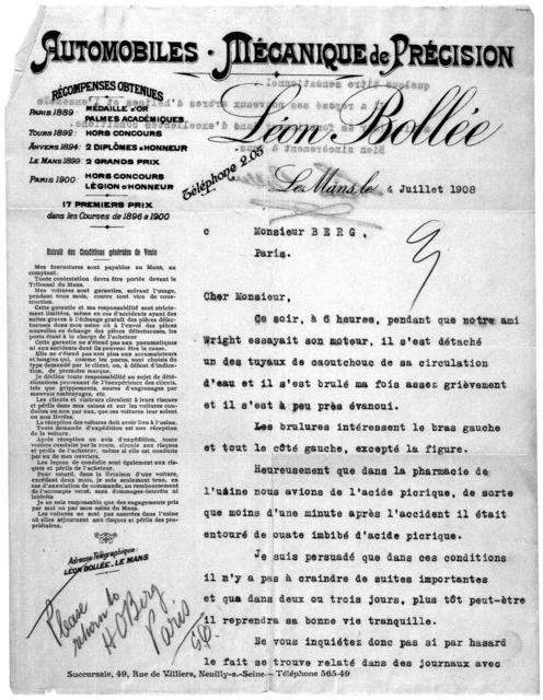 General Correspondence:  Bollée, Léon, 1908-1913