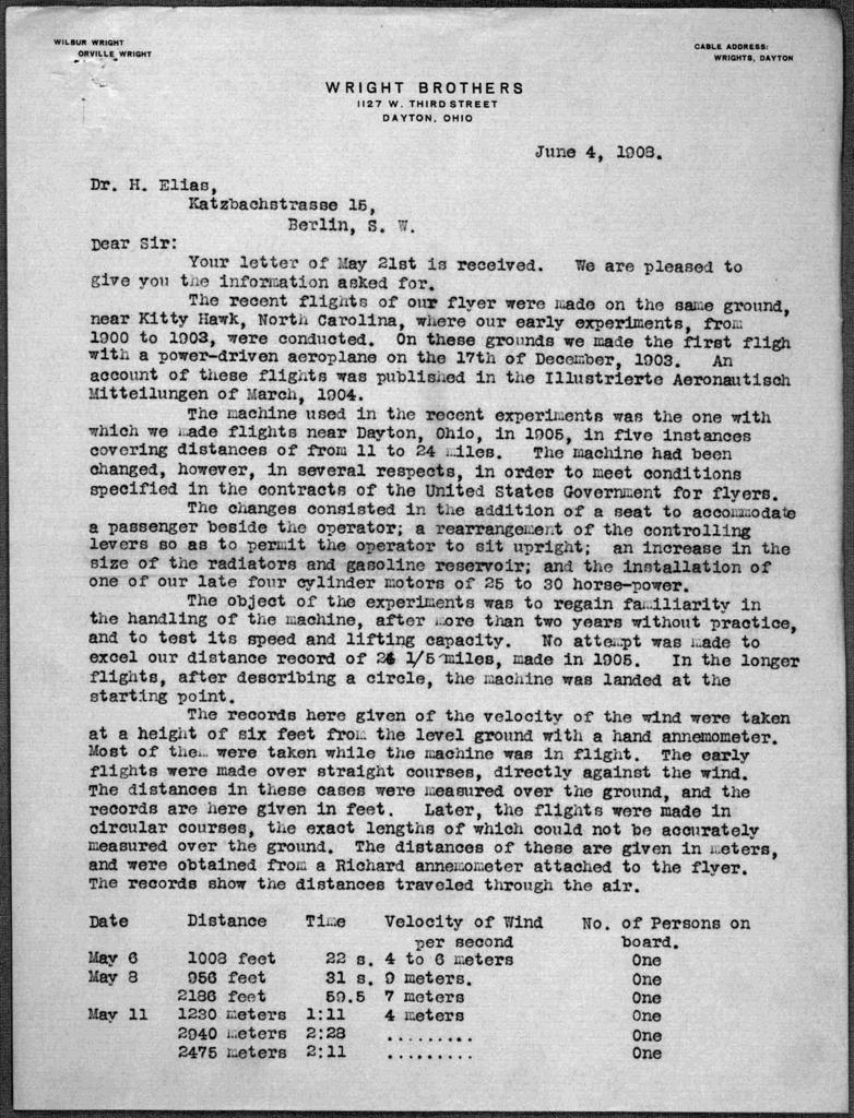 General Correspondence:  Elias, H., 1908
