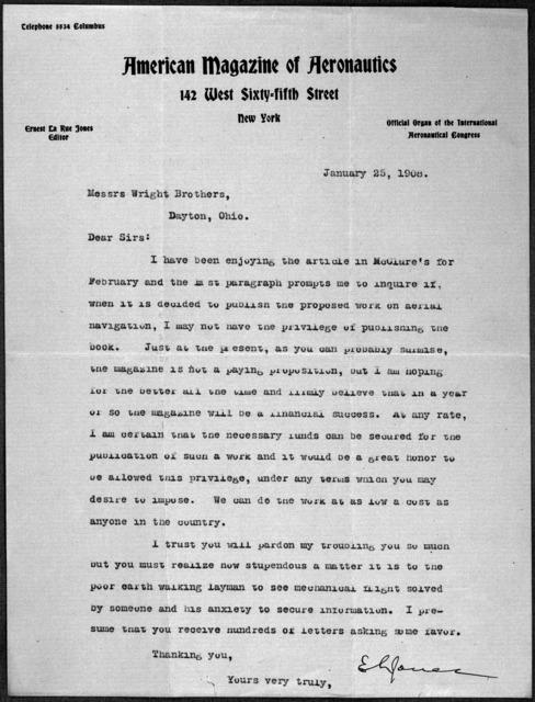 General Correspondence:  Jones, Ernest L., 1908