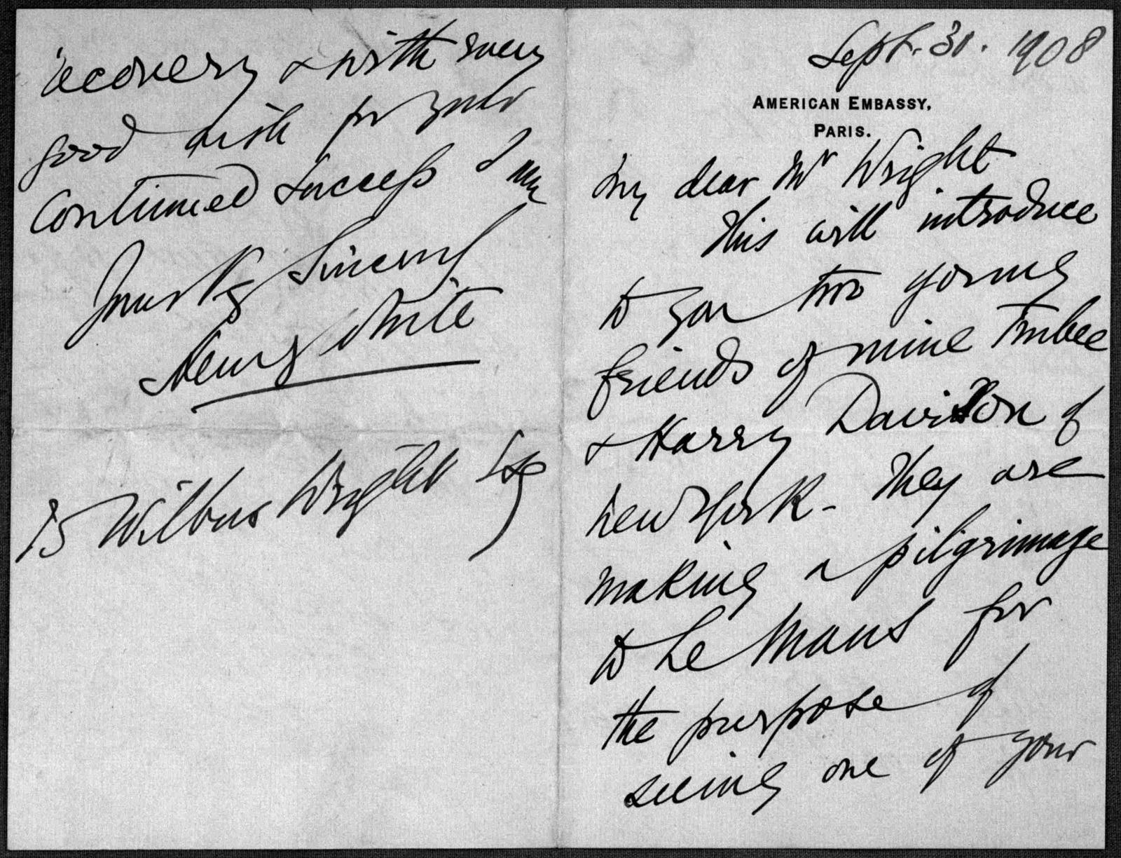 General Correspondence:  White, Henry, 1908-1909
