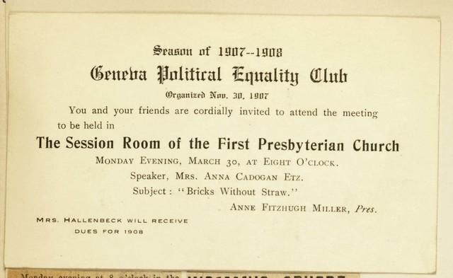 Geneva Political Equality Club meeting notice held at First Presbyterian Church. Anna Cadogan Etz, speaker