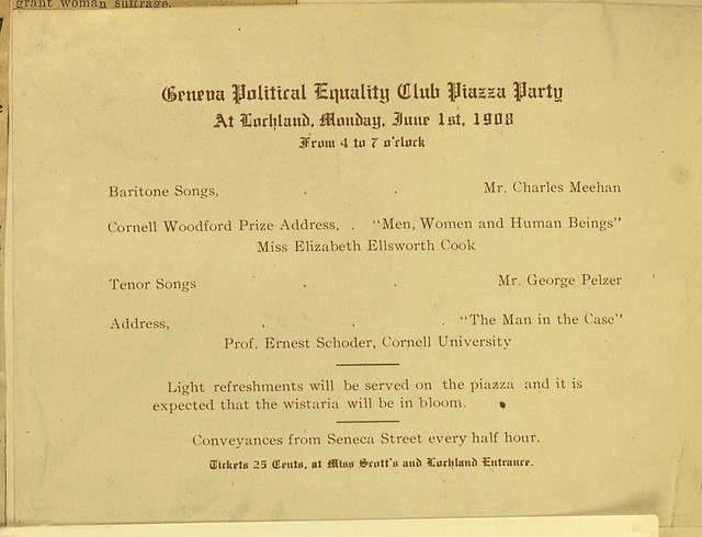Geneva Political Equality Club Party notice and program for June 1, 1908,