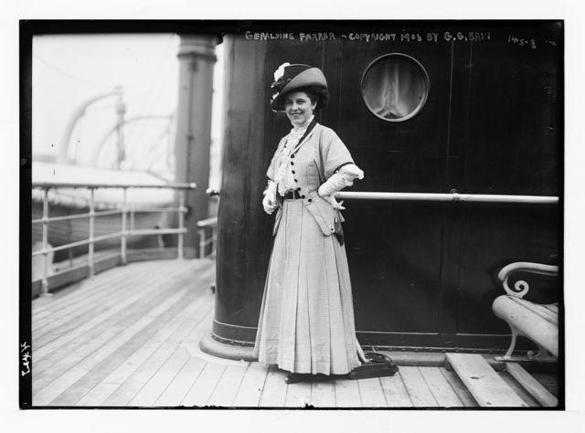 Geraldine Farrar, on ship