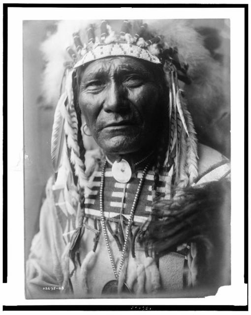 [Ghost Bear, Crow Indian, Montana, head-and-shoulders portrait, facing front, feather headdress, beaded buckskin shirt, bead choker with shell concho, large medal on strand of metal beads]