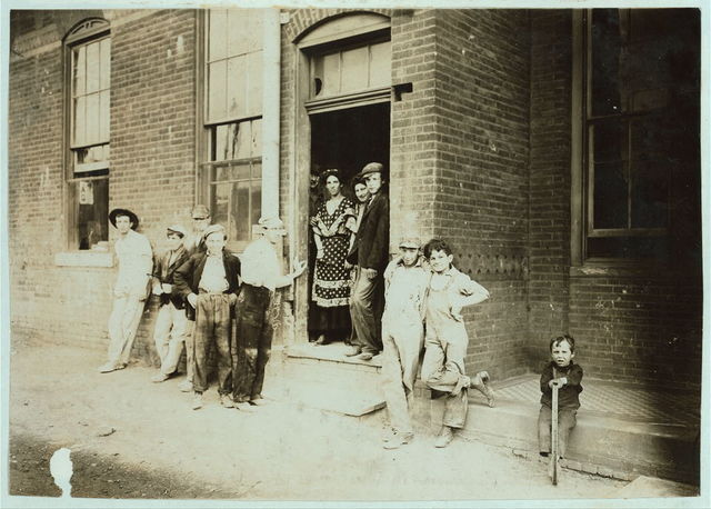Girls and Boys Going Home from Indianapolis Tile Works. Aug., 1908. Wit., E. N. Clopper.  Location: Indianapolis, Indiana.