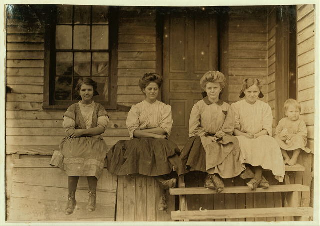 Girls working in Springstein Mills, Chester, S.C. Zetella Gallman (by window) (looked 15 years old). Has worked 2 years. Both girls in middle said they had been in mill 8 years. Witness Sara R. Hine.  Location: Chester, South Carolina.