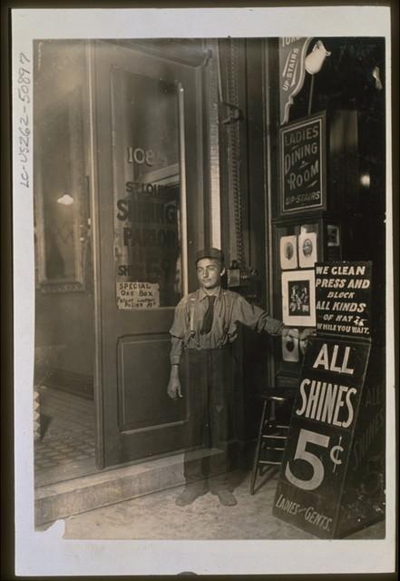 Greek Bootblack, Indianapolis, Aug., 1908, 10 P.M.  Location: Indianapolis, Indiana.